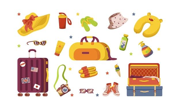 여행 물건의 집합입니다. 다양한 수하물 가방, 여행 가방, 화장품, 카메라, 옷.