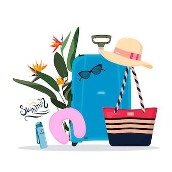 Набор дорожных вещей чемодан, пляжная сумка, бутылка, фляга для воды и солнцезащитные очки, шляпа