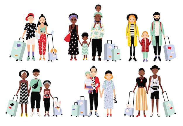 여행하는 가족과 커플의 집합입니다. 수하물, 어린이와 다른 유행 사람들. 만화 스타일의 다채로운 벡터 컬렉션입니다.
