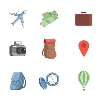여행 항목 벡터 평면 그림 비행기 현금 서류 가방 세트