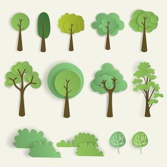 紙カットスタイルの木のセット