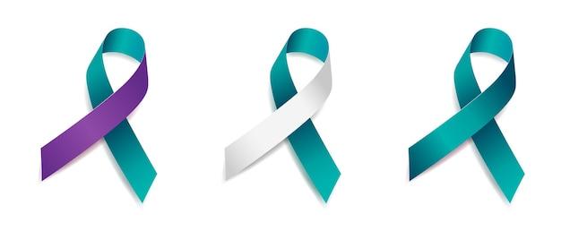 Набор осведомленности ленты бирюзового дерева рака шейки матки, сексуального нападения, синдрома поликистозных яичников, самоубийства, домашнего насилия, посттравматического стрессового расстройства, изолированного на белом фоне. векторная иллюстрация.