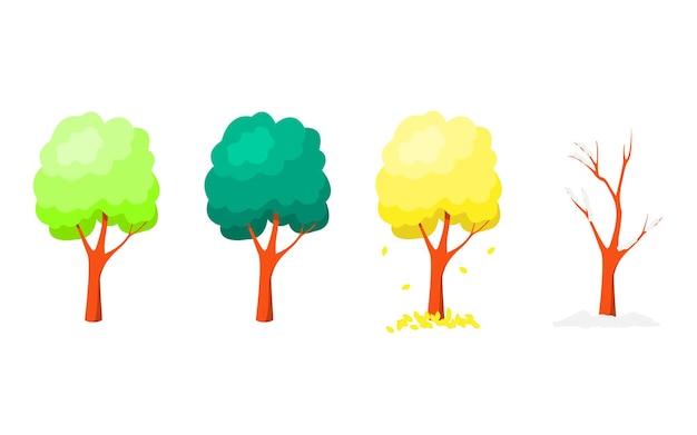 흰색 바탕에 연중 다른 시간에 나무의 집합입니다. 평면 벡터 만화 일러스트 레이 션.