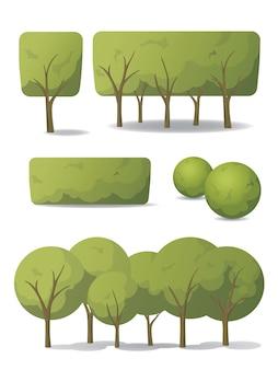판지 스타일에서 나무의 집합입니다. 크라운 모양이 다른 녹색 나무와 관목.