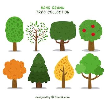 손으로 그린 스타일에 나무의 집합