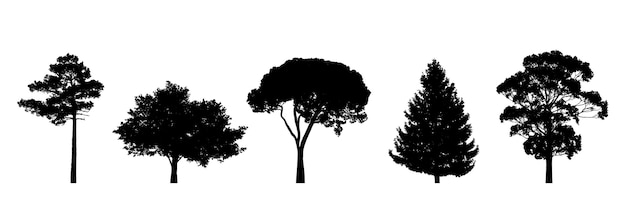 Набор силуэтов деревьев, изолированные на белом фоне