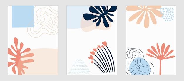 Набор трендовых шаблонов абстрактных форм и ботанических элементов, пальмовых листьев, растений, минимализм