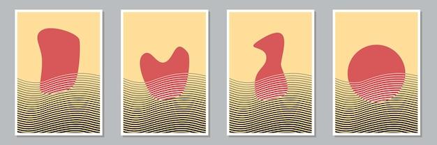 Набор модных абстрактных творческих минималистичных художественных композиций с ручной росписью для украшения стен, дизайна открытки или брошюры. векторная иллюстрация.
