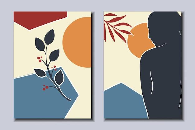 トレンディな抽象的なポスターのセット