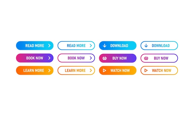 웹, 모바일 앱용 트렌디한 작업 버튼 세트. 템플릿 탐색 버튼 메뉴입니다. 더 읽고, 다운로드하고, 지금 구매하십시오. 다른 그라데이션 색상입니다. 벡터 Eps 10입니다. 흰색 배경에 고립. 프리미엄 벡터