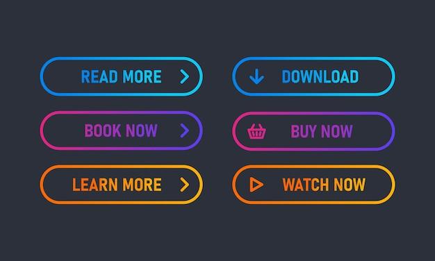 웹에 대 한 최신 유행 작업 버튼의 집합입니다. 탐색 버튼 메뉴. 더 읽고, 다운로드하고, 지금 구매하십시오.