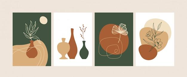 抽象的な植物の形のベクトル図とトレンディな組成のセット