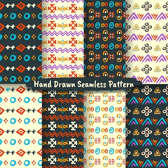 트렌디한 손으로 그린 원활한 패턴, 추상 손으로 그린 패턴의 집합
