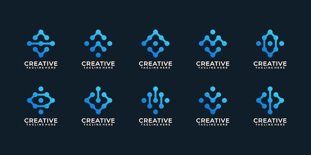 최신 유행 인터넷 기술 웹 디지털 로고 벡터 영감의 집합