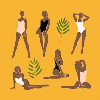 노란색 배경에 트렌디한 최소한의 추상적이고 현대적인 여성 실루엣 세트