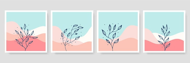 잎, 현대 벽 아트 포스터와 추상 라인 아트 작곡으로 트렌디 한 미니멀 한 식물 그림 세트
