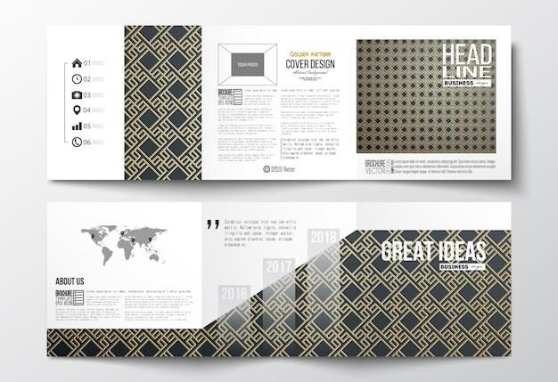 트라이 배 브로셔, 정연 한 디자인 서식 파일의 설정. 이슬람 금 패턴