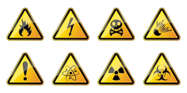 Набор треугольных символов опасности. знаки опасности.