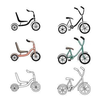 三輪車のセット。サイクリング。アクティブなライフスタイル。線画