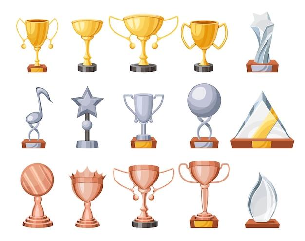 トロフィーカップ、ブロンズ、シルバー、ゴールデン、グラスの優勝ゴブレットのセットで、1位のお祝い、チャンピオン賞賞のデザイン要素、勝利の達成、成功アイテム。漫画のベクトル図