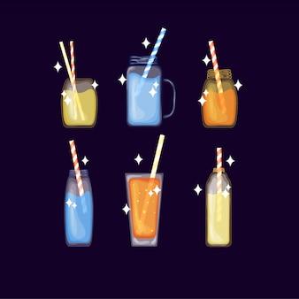 かわいい漫画スタイルのトロピカルアルコールとフルーツカクテルのセット。ビーチパーティー。分離したイラスト