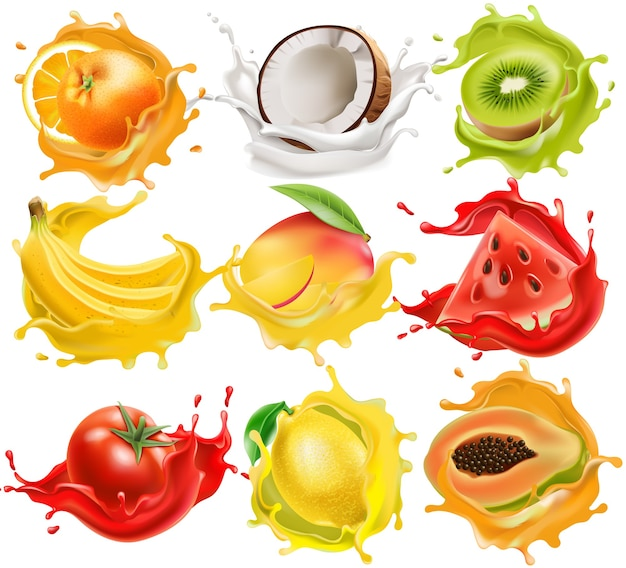 Набор тропических фруктов и овощей, плещущихся в соке. апельсин, кокос, киви, банан, манго, арбуз, помидор, лимон и папайя. реалистичный