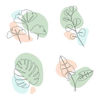 Набор тропических листьев в одну линию.