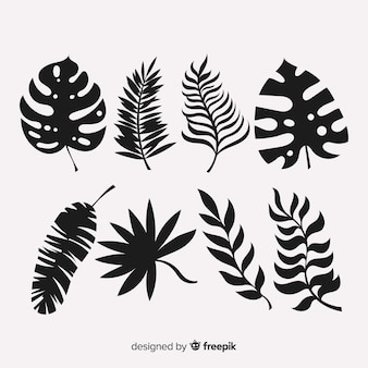 Set of tropical leaves with silhouette style