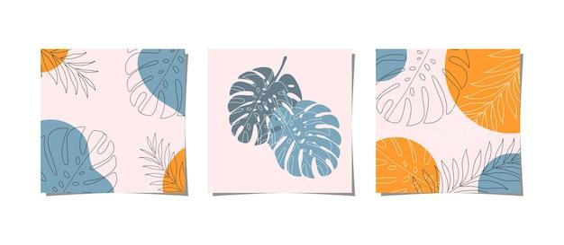 열대 잎의 세트