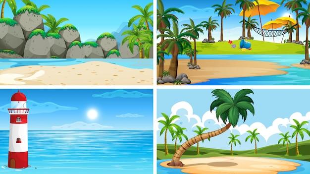 해변과 열대 바다 자연 장면의 집합