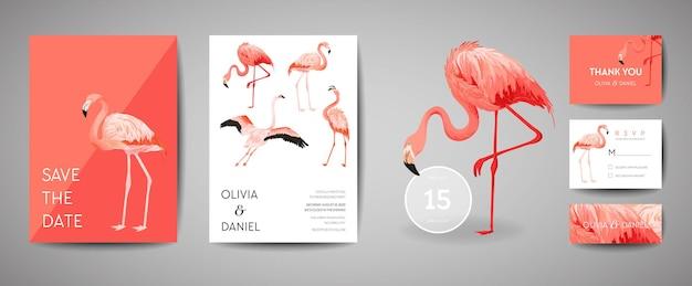열대 복고풍 결혼식 초대 카드 세트, 현대적인 저장 날짜, 플라밍고 새 삽화의 템플릿 디자인. 벡터 유행 표지, 파스텔 그래픽 포스터, 브로셔