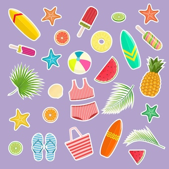 Набор тропических наклеек. привет лето. элементы для дизайна и печати. векторная иллюстрация.