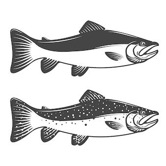 マスのアイコンのセットです。釣りクラブやチームのデザイン要素。