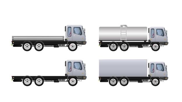 トラックの側面図のセット。貨物の配達。