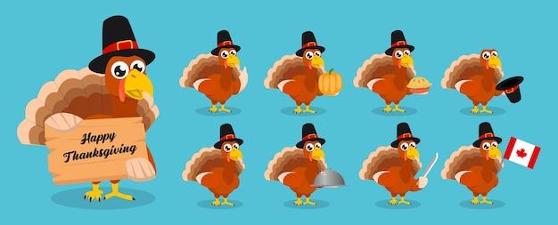 感謝祭の日のイラストのトルコのマスコットのセット