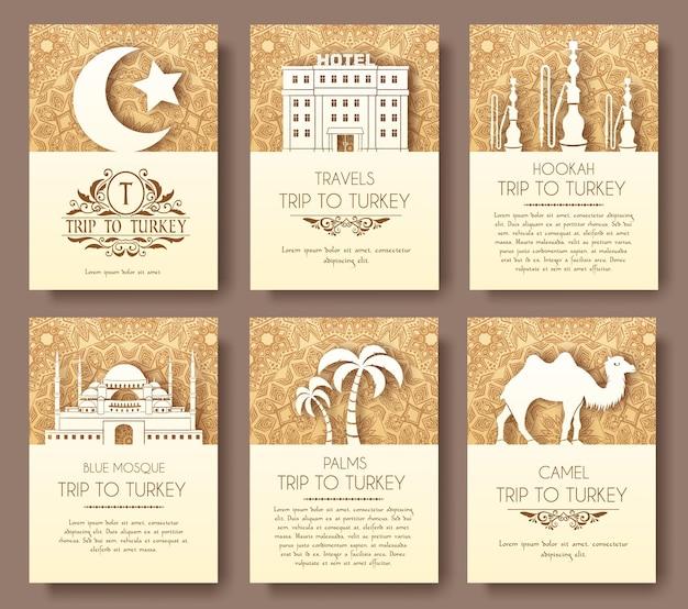 터키어 플라이어 페이지 장식 개념의 집합