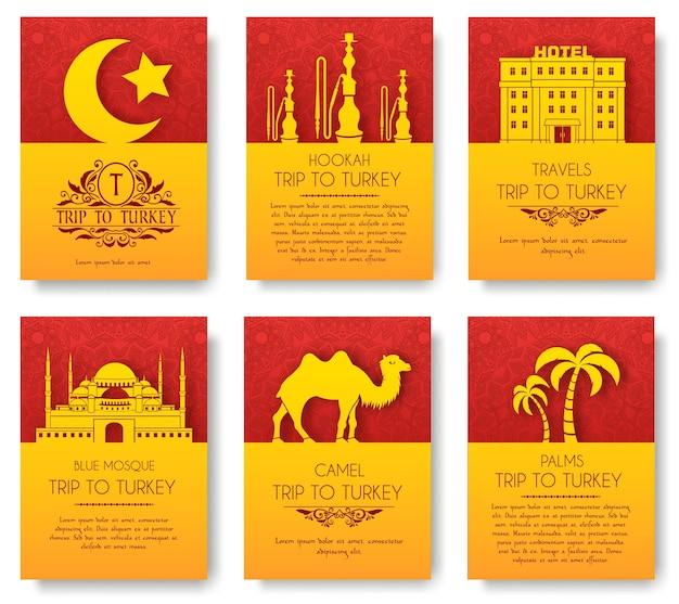 Набор концепции орнамента страницы турецкого флаера