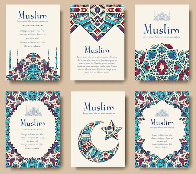 Набор турецкого флаера страницы орнамент иллюстрации концепции