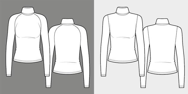 タートルネックスリムフィット長袖tシャツのセット