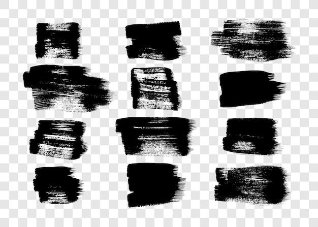 12개의 검은색 그런 지 브러시 획의 집합입니다. 칠해진 잉크 번짐. 투명 한 배경에 고립 된 잉크 반점입니다. 벡터 일러스트 레이 션