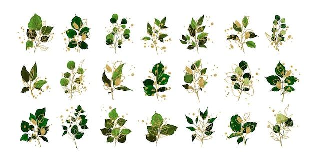 Набор веток и веток с листьями и золотыми элементами