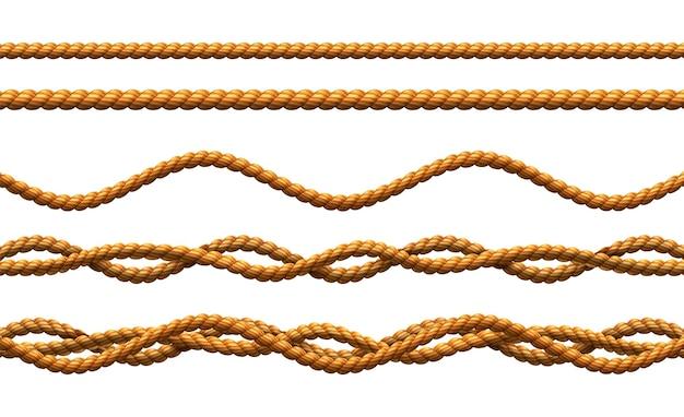 ねじれた波状のコードのセット