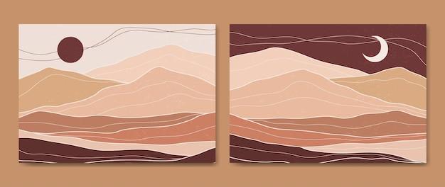 2つの抽象的な美学ミッドセンチュリーモダンランドスケープライン現代自由奔放に生きるポスターテンプレートのセット