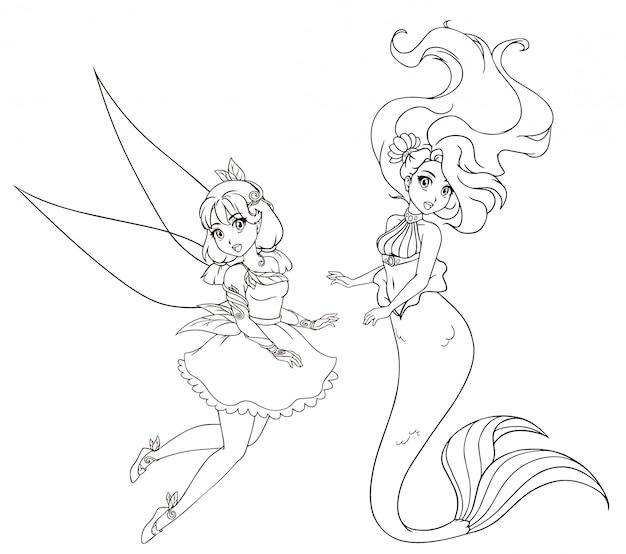 アニメ風キャラクター2体セット。人魚と妖精。塗り絵、タトゥー、カード、tシャツテンプレートなどの白い背景の上の手描きイラスト。