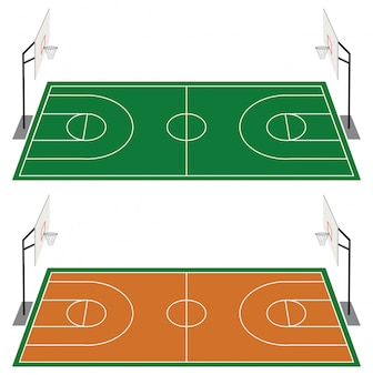 두 개의 농구 코트 세트