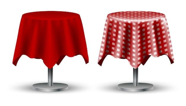 赤いテーブルクロスと上に市松模様の2つのカフェテーブルのセット。アロンホワイトバックグラウンドを分離しました。