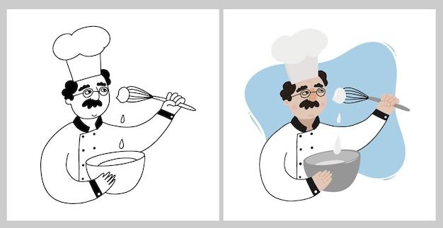 料理をする2人のシェフまたはパン屋のセット