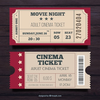 Ticket vectors photos and psd files free download set of two cinema pass in vintage style stopboris Images