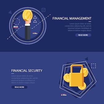 財務管理と保護のための2つのカラーバナーのセット。