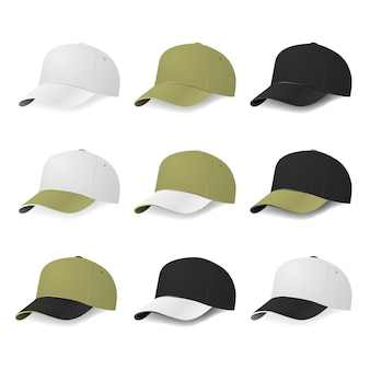 화이트, 카키, 블랙 컬러의 2 색 야구 모자 세트. 삽화.